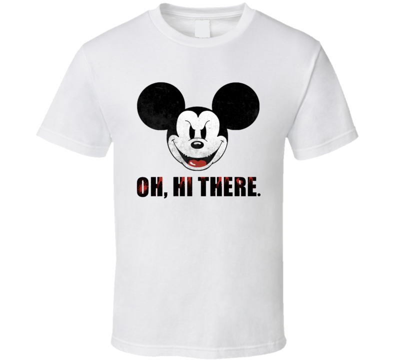 Scary Mickey Mouse Oh Hi There Funny Cool Halloween T Shirt