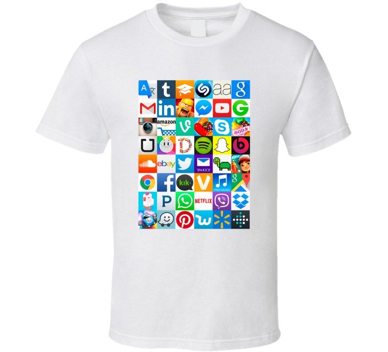 Popular Apps Games Social Media Icon Logos Trending Mashup T Shirt