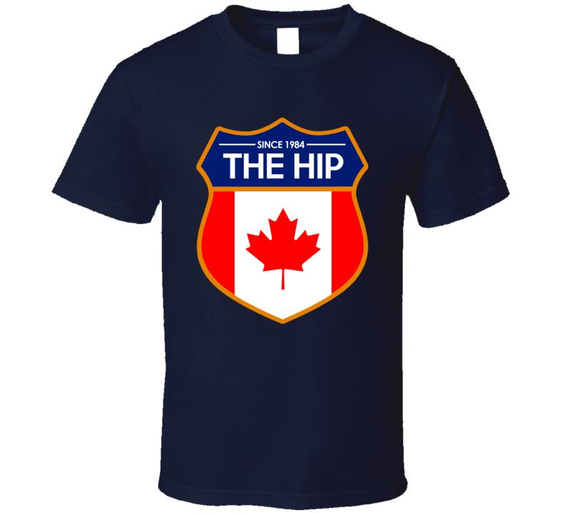 The Tragically Hip Canadian Flag Rock Band Crest Logo T Shirt