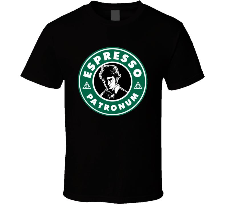 Espresso Patronum Funny Harry Potter Starbucks Coffee Logo Book Movie Fan T Shirt