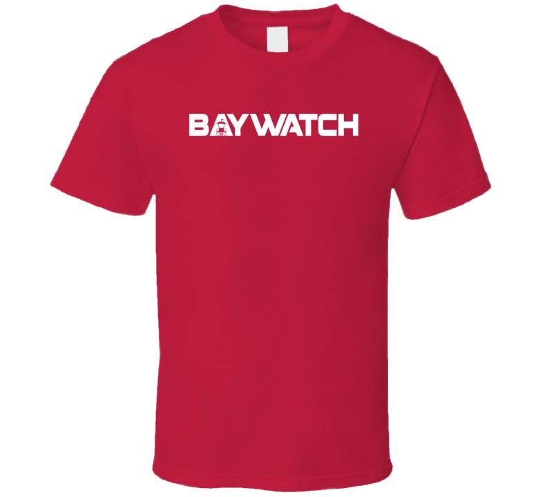Baywatch Lifeguard Retro TV Movie Series Zac Efron The Rock Logo T Shirt