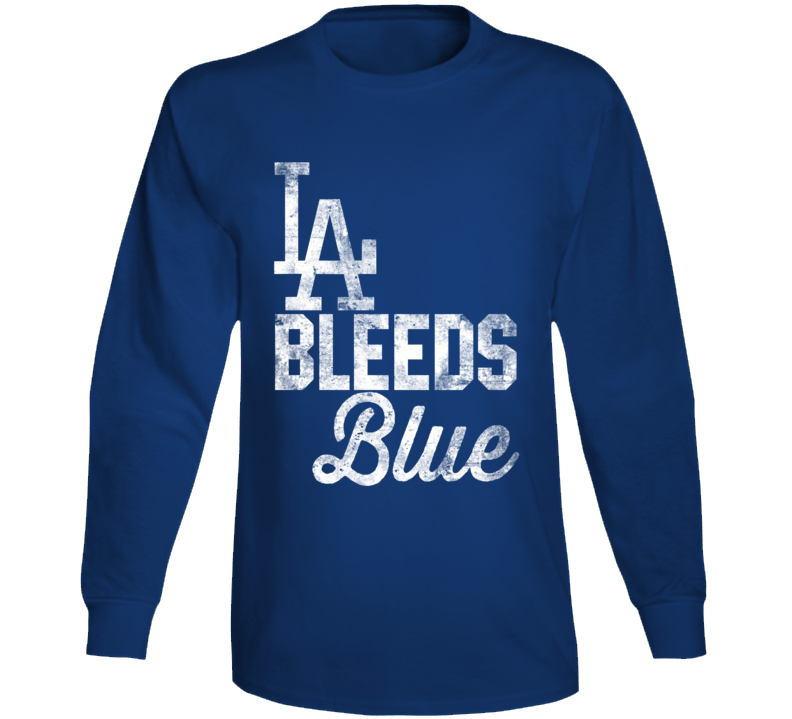 La Los Angeles Bleeds Blue California City Sports Team Colour Fan Long Sleeve T Shirt