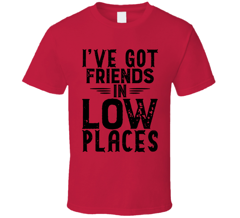 I've Got Friends In Low Places Country Music Lyrics Concert Fan T Shirt
