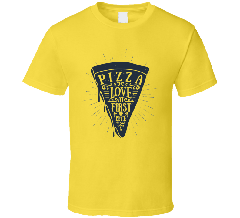 Pizza Love At First Bite Foodie T Shirt