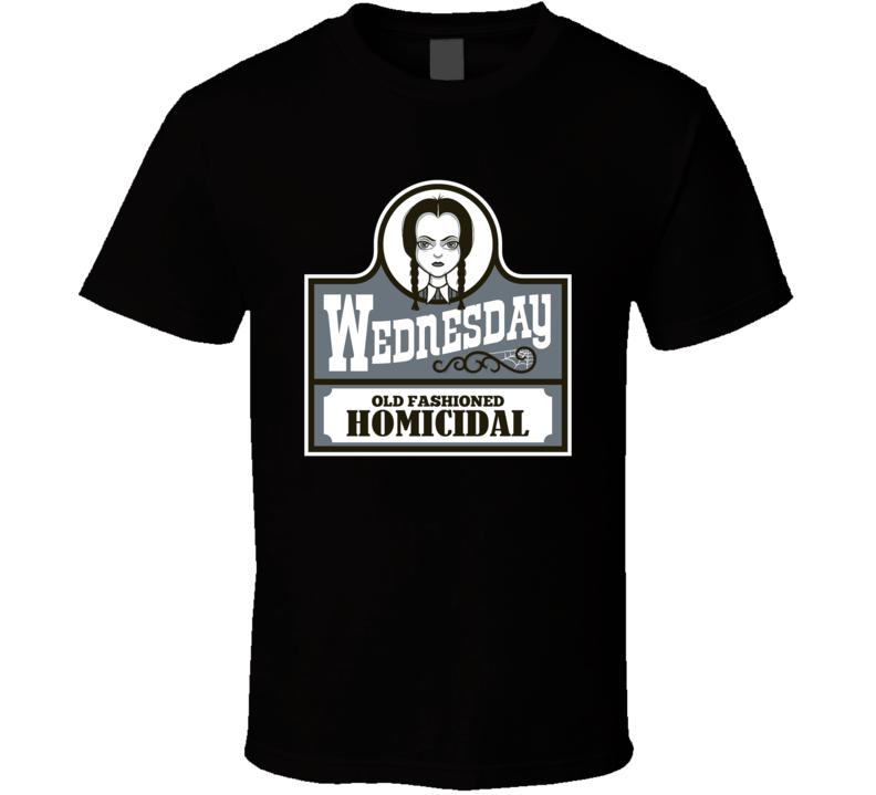 Wednesday Adams Family Wendys Fast Food Logo Parody T Shirt