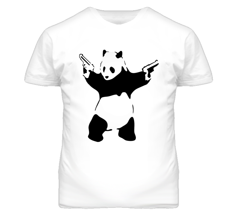 WTF Panda With Guns Simple Art Cute Funny T Shirt