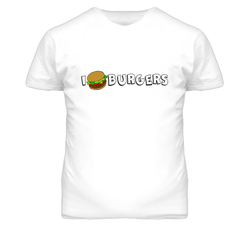 I Love Burgers Funny Simple T Shirt