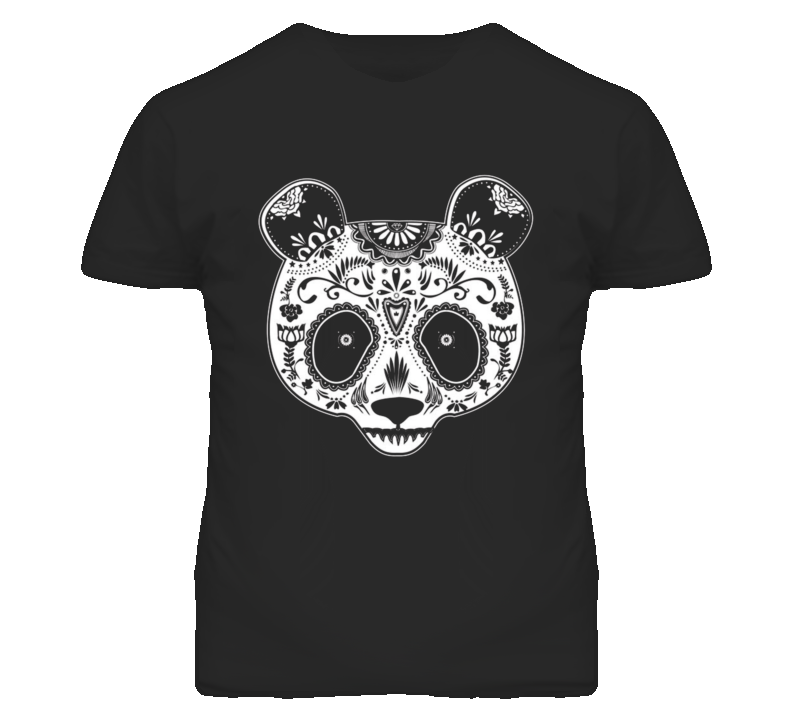 Sugar Skull Panda Design Cool T Shirt