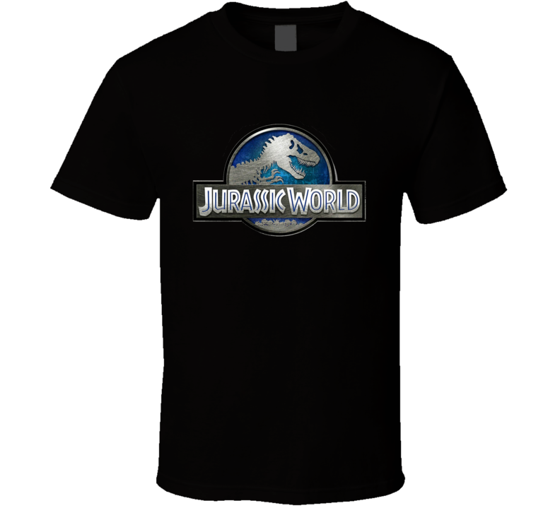 Jurassic World Park Sign Movie Logo Metal Look T Shirt