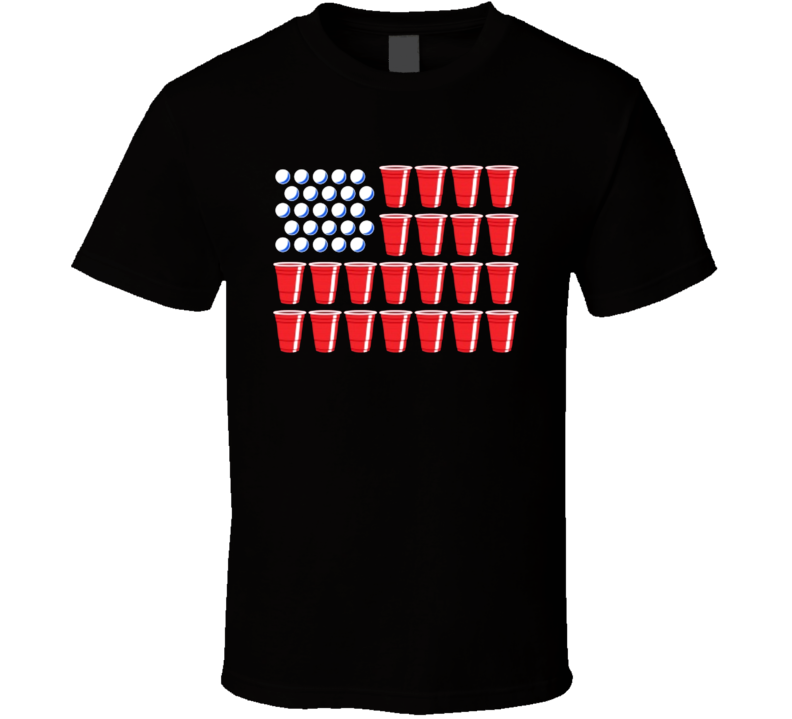 Beer Pong USA United States American Flag Drinking Party T Shirt