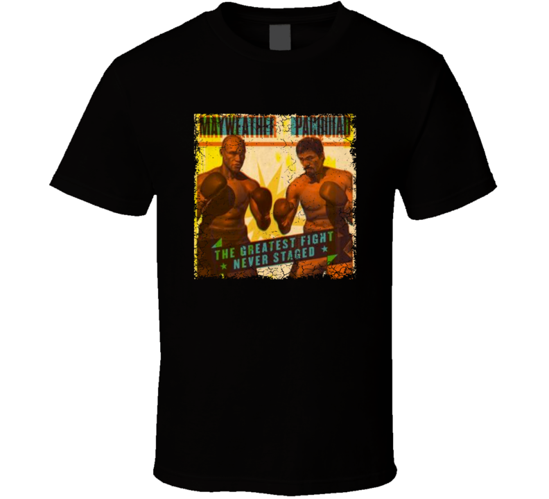 Mayweather Pacquiao Greatest Fight Poster Cracked Vintage Look T Shirt