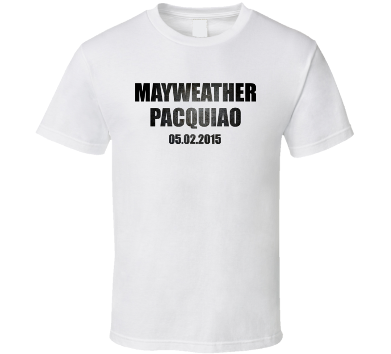 Mayweather Vs Pacquiao May 2015 Distressed Metal Look White T Shirt