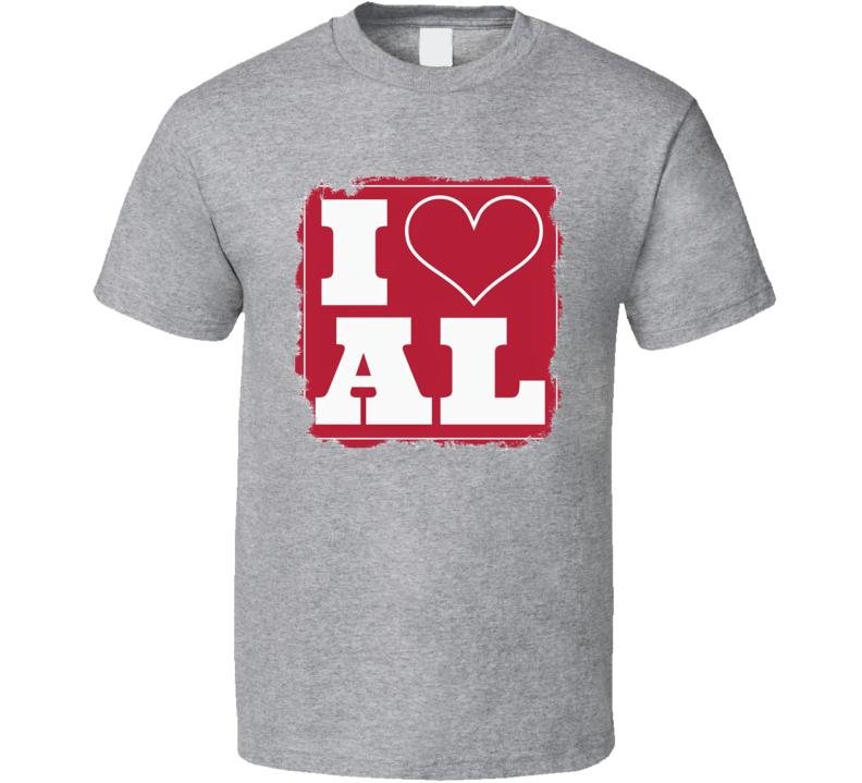 I Love Alabama Crimson Tide Worn Look Football Fan T Shirt
