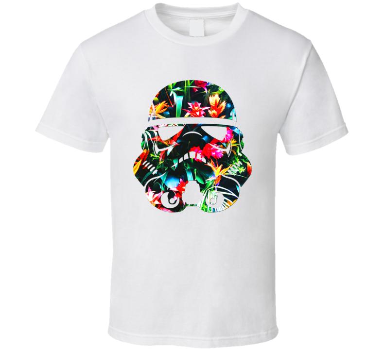 Storm Trooper Tropical Flowers Helmet Star Wars Mashup Trending Gift T Shirt