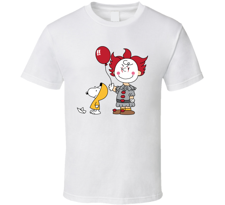 Snoopy Charlie Brown Penuts Pennywise Steven King's It Parody Fan T Shirt