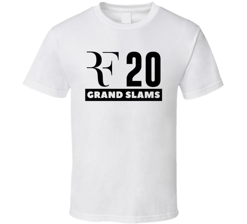 Roger Federer Rf Logo 20 Grand Slams Tennis Player Champion Fan T Shirt
