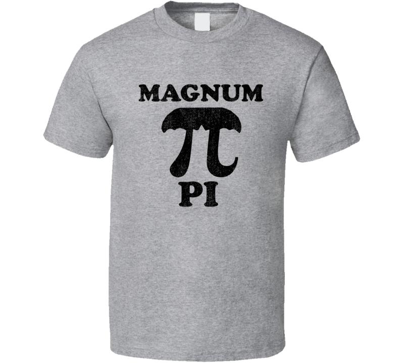 Magnum Pi 3 14 Math Tom Selleck Mustache Mashup Parody Funny Retro Geek Fan T Shirt