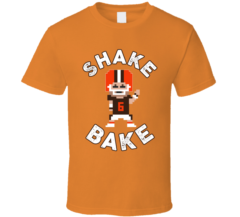 b0435b0b Baker Mayfield Shake N Bake Cleveland Football Quarterback 8-bit Tecmo Fan T  Shirt