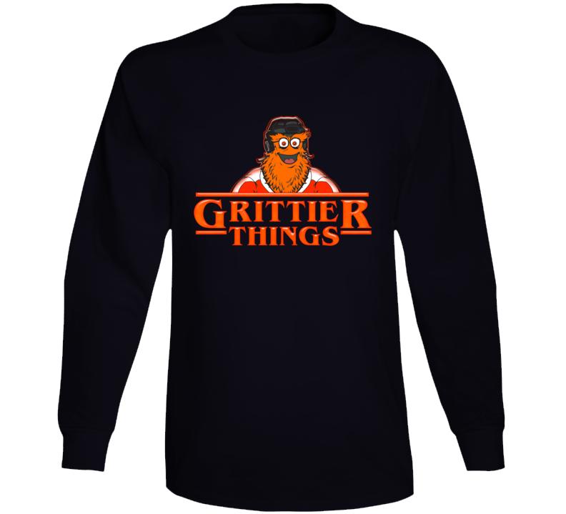 Grittier Things Stranger Things Parody Philadelphia Hockey Long Sleeve