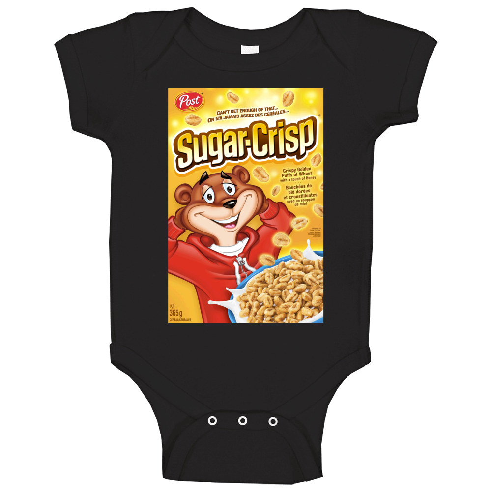 Sugar Crisp Box Greatest Cereal Of All Time Breakfast Fan Foodie Baby One Piece
