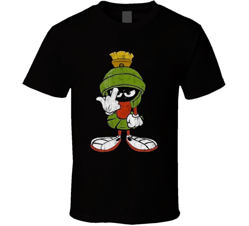 Marvin The Martian Middle Finger Flipping The Bird Looney Toons Worn Look T Shirt