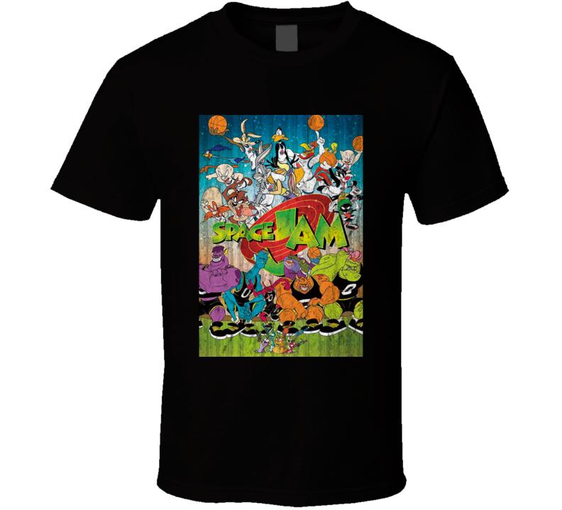Space Jam Retro Looney Tunes Cartoon Poster Vintage Worn Look T Shirt
