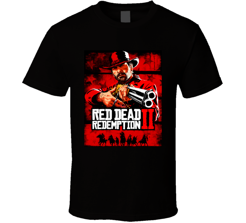 Red Dead Redemption 2 Video Game Cover Distressed Look T Shirt