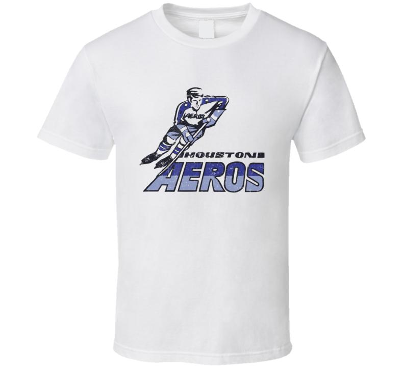 Houston Aeros World Hockey Association Retro Team Logo T Shirt