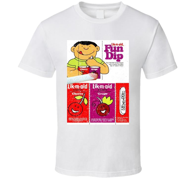 Lik-m-aid Fun Dip Retro Candy Wrapper Label Logo Poster T Shirt