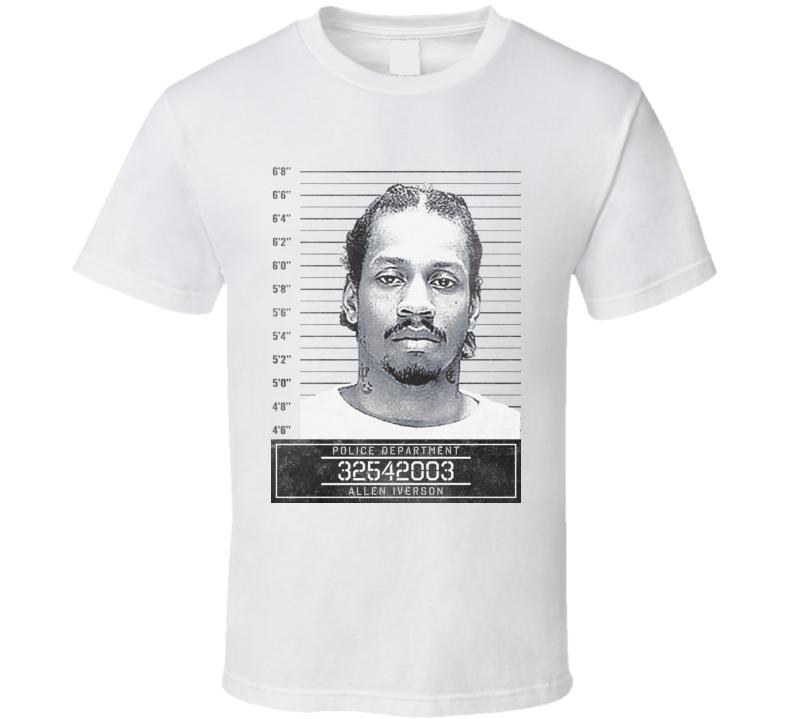 Allen Iverson Famous Sports Star Mugshot Police Department T Shirt