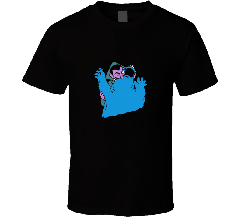Sesame Street The Vampire Count biting Cookie Monster FUNNY True Blood Sugar  T Shirt