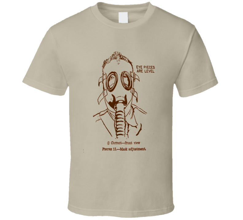 Gas Mask T-Shirt Retro Handbook Adjustment COOL Pilot Style Gas Attack War RETRO STYLES