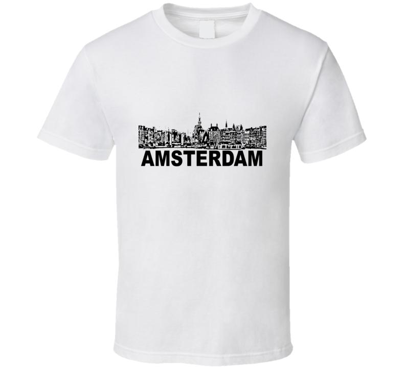 Amsterdam Cityscape Skyline White T Shirt