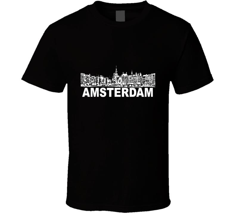 Amsterdam Cityscape Skyline Black T Shirt
