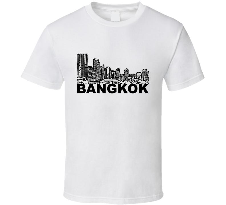 Bangkok Cityscape Skyline White T Shirt