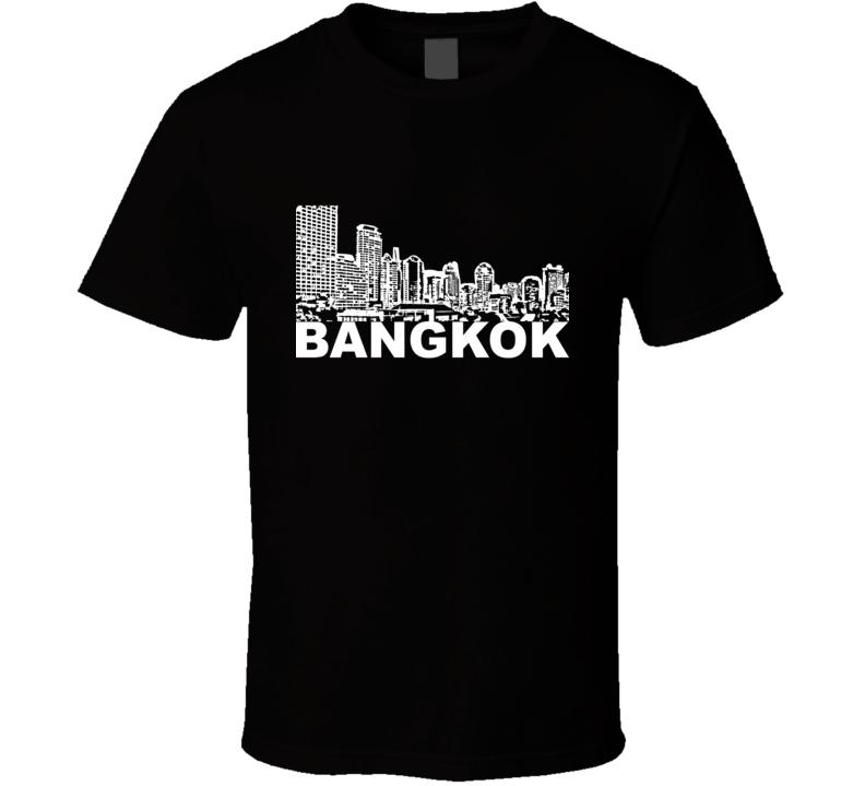 Bangkok Cityscape Skyline Black T Shirt
