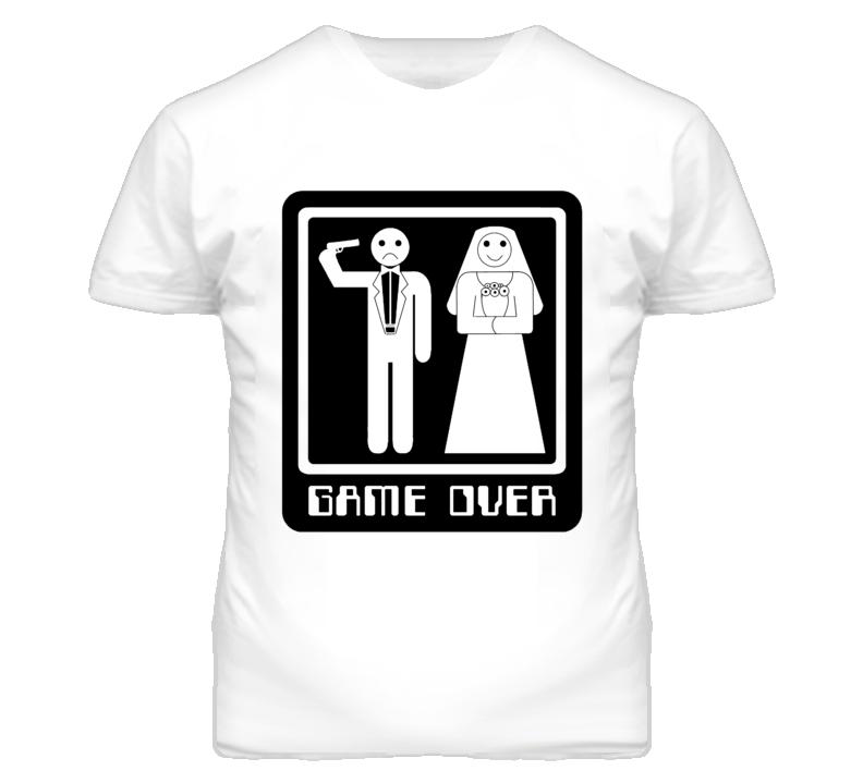 3da0ffb0 Game Over Marriage Wedding Groom Bride Funny Bachelor T Shirt