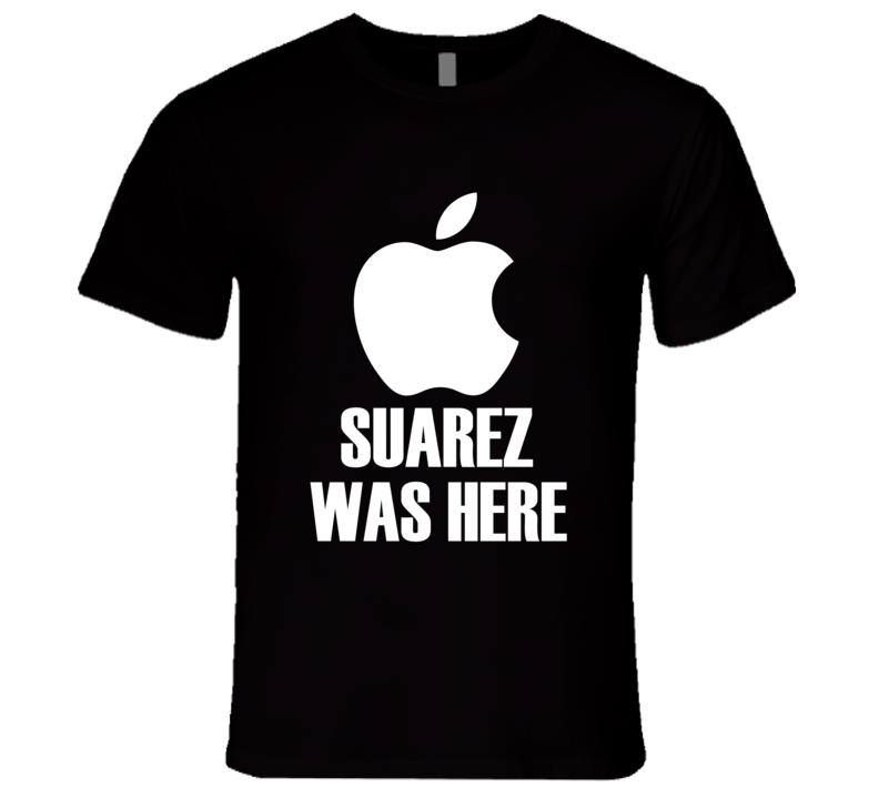 Luis Saurez Was Here Bite Apple Logo Parody World Cup T Shirt