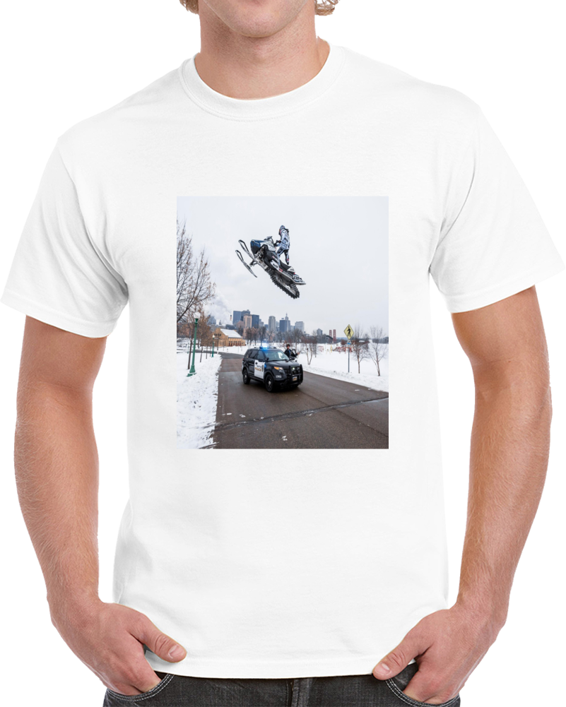 Snowmobile Sled Jump Cop Tshirt (all Colors And Styles Available)
