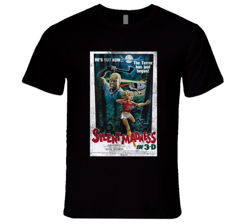 Silent Madness Vintage Distressed Scary Movie Poster Halloween T Shirt