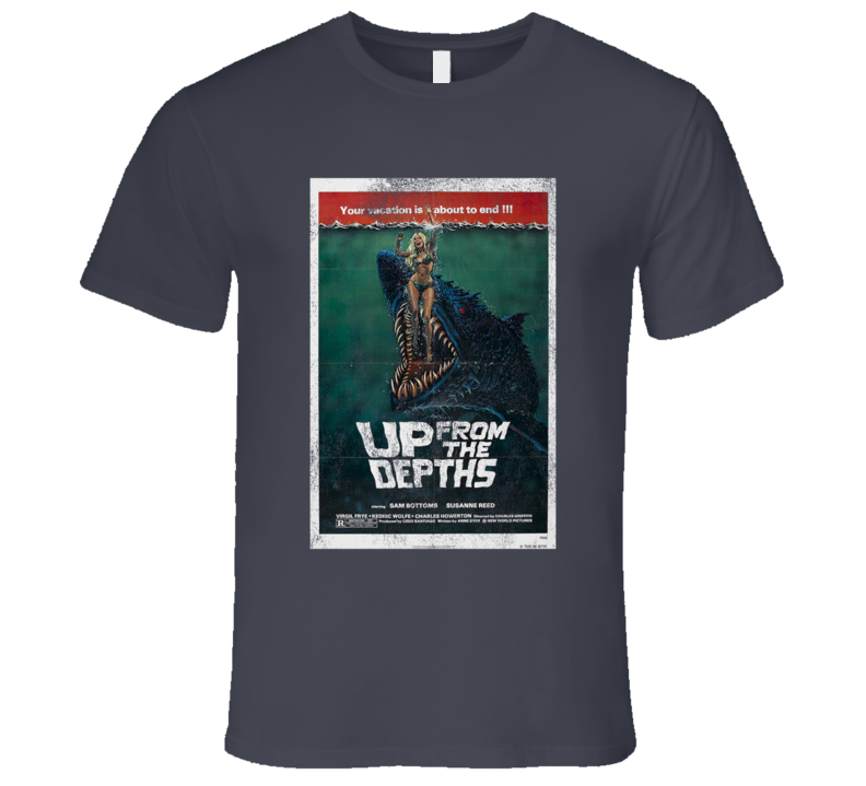 Up From The Depths Vintage Distressed Scary Movie Poster Halloween T Shirt