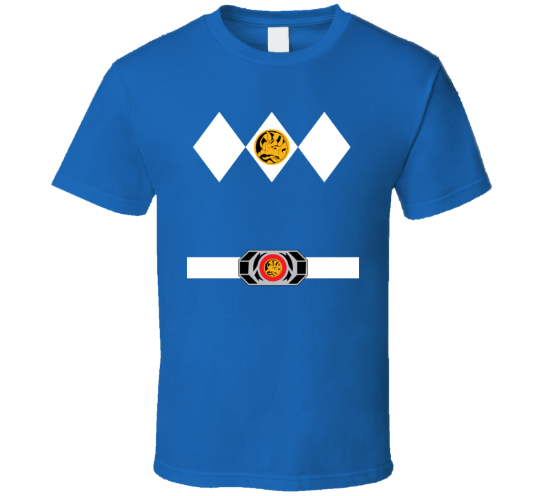 Blue Power Ranger Uniform Halloween Costume T Shirt