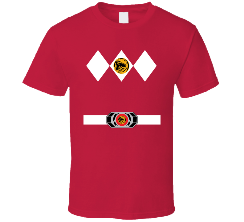 Red Power Ranger Uniform Halloween Costume T Shirt