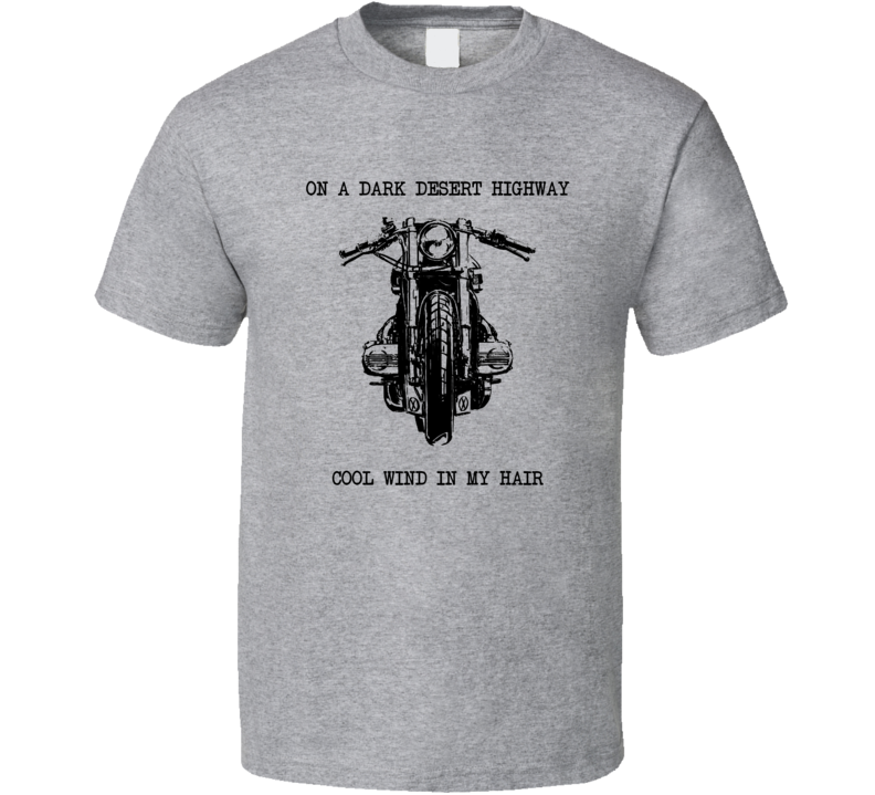 Motorcycle On A Dark Desert Highway T Shirt