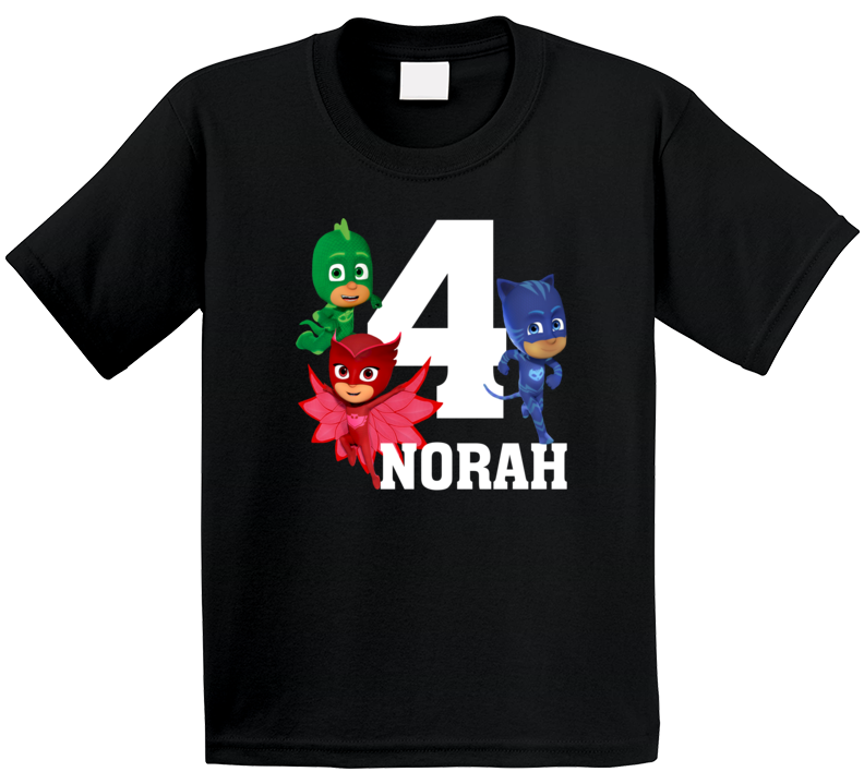 Pj Masks Name And Age Birthday T Shirt