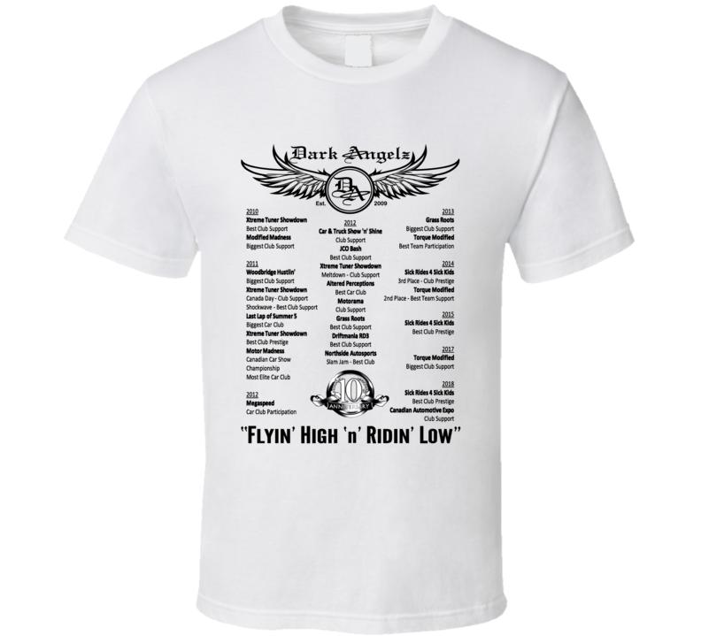 Dark Angelz Car Club 10th Anniversary T Shirt