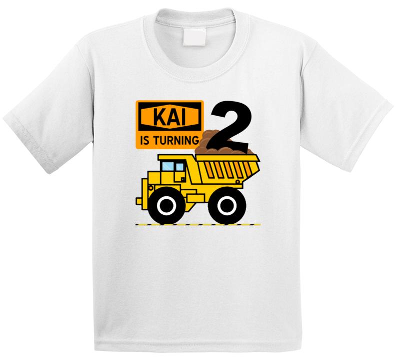 Kai Is Turning 2 Construction Birthday T Shirt