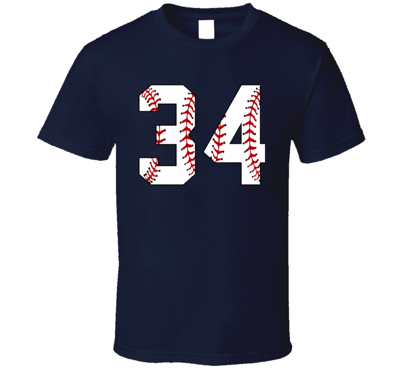 Baseball Jersey Number 34 T Shirt