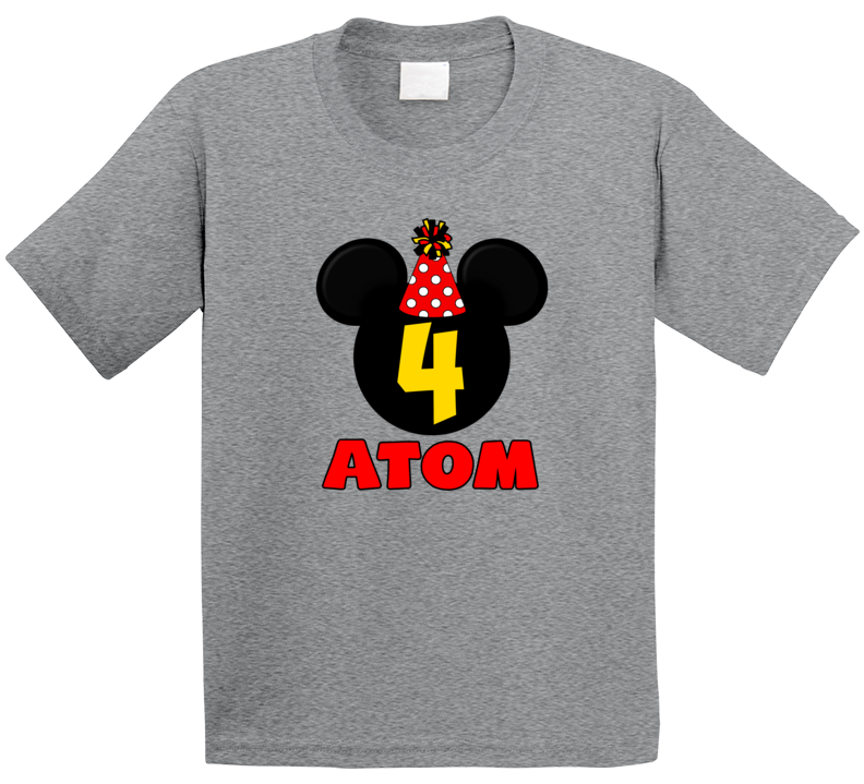 Mickey Birthday 4 Years Old Atom T Shirt