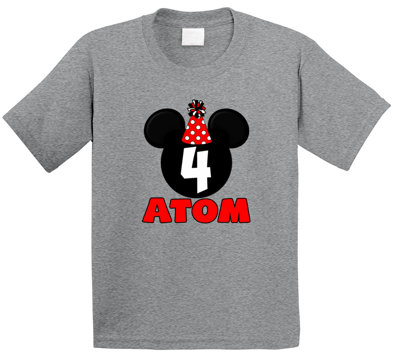 Mickey Birthday 4 Years Old Atom T Shirt